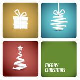 Vector christmas decoration. Simple vector christmas decoration made from white paper stripe - original new year retro card Stock Photography