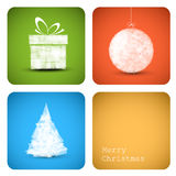 Vector christmas decoration card. Simple vector christmas decoration card with present, bauble and tree Royalty Free Stock Photography