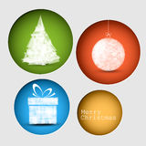 Vector christmas decoration card. Simple vector christmas decoration card with present, bauble and tree Stock Images