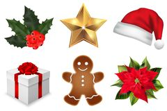 Vector christmas decoration elements set Royalty Free Stock Photos