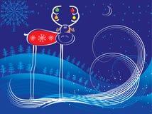 Vector Christmas deer on blue. Vector cartoons blue postcard with deer in winter Royalty Free Stock Image