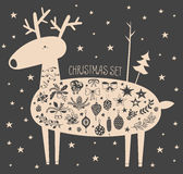 Vector Christmas deer with icon set. Vector illustration of hand drawn cute deer with stars and christmas icons set. Bells, sleigh bells, bows, stars, oak and Royalty Free Stock Photos