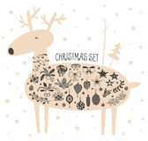 Vector Christmas deer with icon set. Vector illustration of hand drawn cute deer with stars and christmas icons set. Bells, sleigh bells, bows, stars, oak and Stock Photos