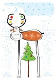Vector Christmas deer ..POstcard. Vector cartoons  postcard with deer in winter Stock Images