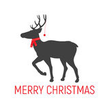 Vector Christmas deer in a scarf Stock Image