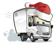 Vector Christmas delivery truck. Vector cartoon Christmas delivery truck. Available AI-10 vector format separeated by groups and layers for easy edit Royalty Free Stock Photography