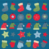 Vector christmas design decorations hanging on rope Stock Image