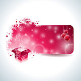 Vector Christmas design with magic gift box and red glass ball on clear background. Royalty Free Stock Images