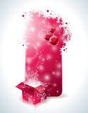 Vector Christmas design with magic gift box and red glass ball on clear background. Royalty Free Stock Photography