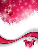 Vector Christmas design with magic gift box and red glass ball on snowflakes background. Royalty Free Stock Image