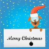 Vector Christmas dog in Christmas santa red hat Royalty Free Stock Photo