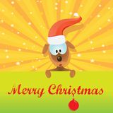 Vector Christmas dog in Christmas santa red hat Stock Photo