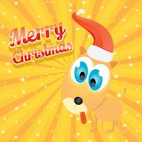 Vector Christmas dog in Christmas santa red hat Stock Image