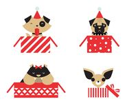 Vector christmas dogs Stock Photography