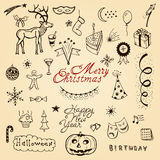 Vector christmas doodle set Stock Images