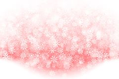 Vector Christmas Falling Snow Effect. Merry Christmas Falling Snow Effect with Realistic Vector Snowflakes Overlay on Light Muted Red Background. Xmas, Happy New Stock Images