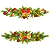 Vector Christmas Fir Decoration with Bow. Isolated on white background Royalty Free Stock Photo