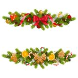 Vector Christmas Fir Decoration with Garland royalty free illustration