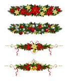 Vector Christmas Fir Decoration isolated. Vector Christmas Fir Decoration set isolated on white background Stock Image