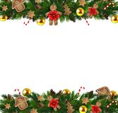 Vector Christmas Fir Decoration isolated. Vector Christmas Fir Decoration background for your greetings and designs Royalty Free Stock Photo
