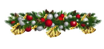 Vector Christmas Fir Decoration isolated. On white background Royalty Free Stock Photography