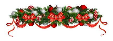 Vector Christmas Fir Decoration isolated. On white background Royalty Free Stock Photos