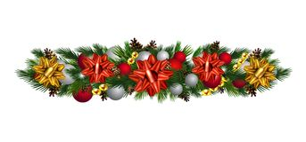 Vector Christmas Fir Decoration isolated. On white background Royalty Free Stock Photo