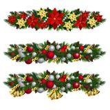 Vector Christmas Fir Decoration isolated. Vector Christmas Fir Decoration set isolated on white background Stock Photos