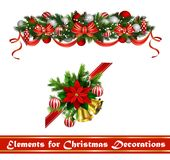 Vector Christmas Fir Decoration isolated. Vector Christmas Fir Decoration set isolated on white background Stock Images
