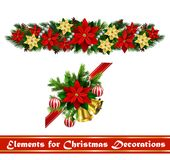 Vector Christmas Fir Decoration isolated. Vector Christmas Fir Decoration set isolated on white background Royalty Free Stock Photo