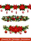 Vector Christmas Fir Decoration isolated. Vector Christmas Fir Decoration set with seamless ornament isolated on white background Stock Image