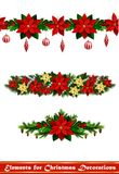 Vector Christmas Fir Decoration isolated. Vector Christmas Fir Decoration set with seamless ornament isolated on white background Royalty Free Stock Photography