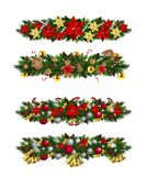 Vector Christmas Fir Decoration. Set  on white background Royalty Free Stock Photos