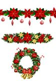 Vector Christmas Fir Decoration. Set with seamless ornament  on white background Stock Images
