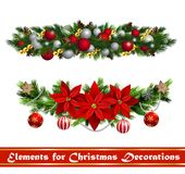 Vector Christmas Fir Decoration. Set  on white background Royalty Free Stock Images