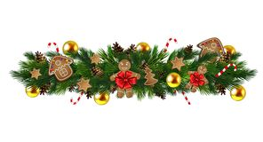 Vector Christmas Fir Decoration. On white background Royalty Free Stock Photo