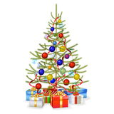 Vector Christmas Fir with Gifts Stock Photos