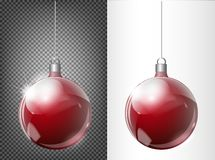 Vector Christmas fir tree and realistic transparent silver Christmas ball on a light abstract background. Christmas transparent ball of glass. Elements of stock illustration