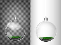 Vector Christmas fir tree and realistic transparent silver Christmas ball on a light abstract background Stock Photo