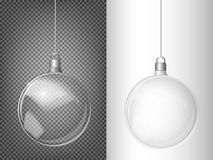 Vector Christmas fir tree and realistic transparent silver Christmas ball on a light abstract background Stock Photography
