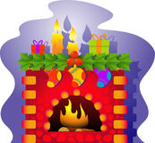 Vector Christmas Fireplace. A  illustration of a fireplace with a Christmas theme. EPS 8 Royalty Free Stock Images