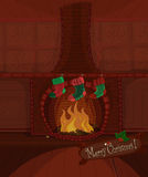 Vector Christmas fireplace. Vector Christmas series. Beautiful fireplace with fire burning and three stockings waiting for Santa Claus. Available space for your Royalty Free Stock Photography