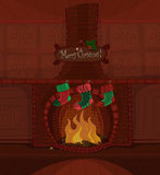 Vector Christmas fireplace. Vector Christmas series. Beautiful fireplace with fire burning and three stockings waiting for Santa Claus. Available space for your Royalty Free Stock Photos