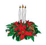 Vector Christmas garland. Of poinsettia, candles and Christmas trees Royalty Free Stock Photo