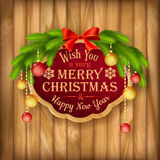 Vector Christmas garland, frame, balls background Royalty Free Stock Images