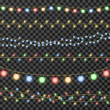 Vector christmas garland lights isolated on transparent background. Decoration garland for party, lamp garland on string for event illustration Royalty Free Stock Photos