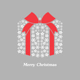 Vector christmas gift box with white snowflake. And bow Royalty Free Stock Images