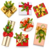 Vector Christmas Gift Boxes. Isolated on white background Royalty Free Stock Image