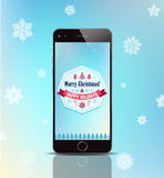 Vector christmas gift phone, poster, card with Stock Image
