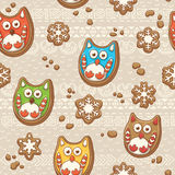 Vector Christmas Gingerbread. Ginger cookies pattern with owls Royalty Free Stock Photography